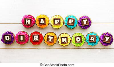 cumpleaños, cupcakes, feliz
