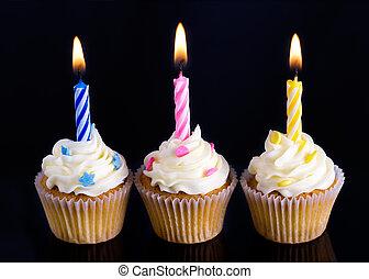 cumpleaños, cupcakes