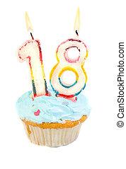 cumpleaños, decimoctavo, cupcake