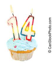 cumpleaños, decimocuarto, cupcake