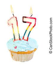 cumpleaños, decimoséptimo, cupcake