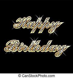 cumpleaños, diamante, oro, feliz