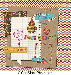 cumpleaños, diseño,  Retro, celebración
