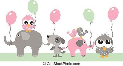 cumpleaños, ducha, bebé, o