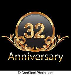 cumpleaños, feliz, 32, aniversario