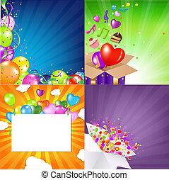 cumpleaños, fondos, conjunto, con, sunburst