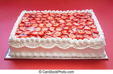 cumpleaños, fresa, pastel