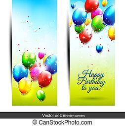 cumpleaños, globos, banderas