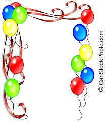cumpleaños, globos, y, cintas