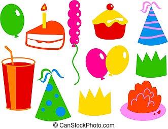 cumpleaños, iconos