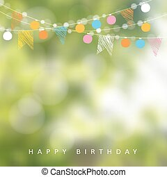 cumpleaños, jardín, guirnalda, junio, ilustración, confuso,...