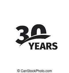 cumpleaños, jubileo, icon., emblem., blanco, número, thirtieth, resumen, vector, 30, aislado, 30th, años, logotipo, negro, aniversario, treinta, illustration., fondo., logotype., celebración