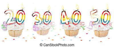 cumpleaños, número, cupcakes, bandera