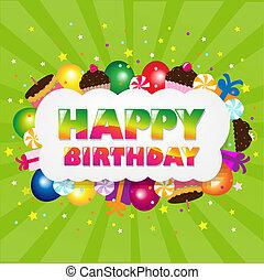 cumpleaños, nube, con, verde, sunburst