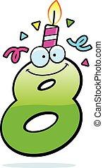cumpleaños, ocho, caricatura, número