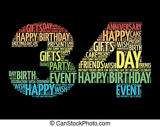 cumpleaños, palabra, 34th, nube, feliz