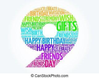 cumpleaños, palabra, 9, nube, feliz