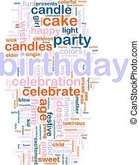 cumpleaños, palabra, nube