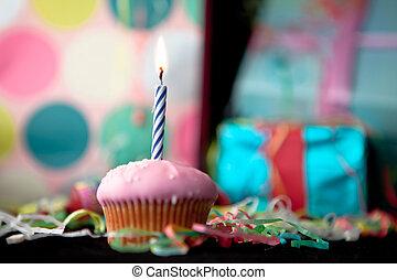 cumpleaños, pastel de taza