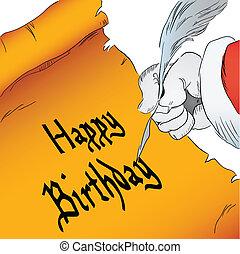 cumpleaños, Pergamino, feliz