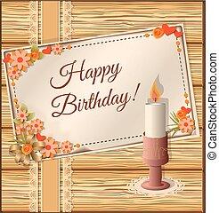 cumpleaños, scrapbooking, tarjeta, con, lata