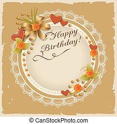 cumpleaños, scrapbooking, tarjeta, con, rosas, corazones