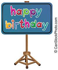 cumpleaños,  signboard, feliz