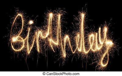 cumpleaños, sparkler, (you, lata, ver, otro, palabras, en, mi, portfolio)