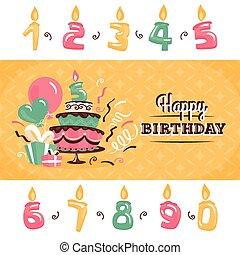 cumpleaños, tarjeta de felicitación, con, pastel grande, vector, ilustración