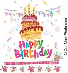 cumpleaños, tarjeta de felicitación, con, pastel