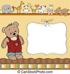 cumpleaños, tarjeta de felicitación, teddy