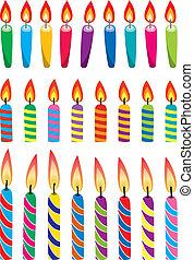 cumpleaños, vector, conjunto, colorido, velas
