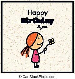 cumpleaños, vector, tarjeta de felicitación, feliz