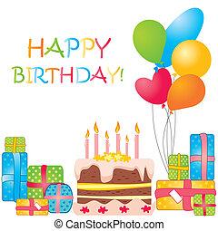 cumpleaños, vector, tarjeta