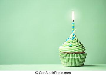 cumpleaños, verde, cupcake