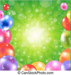 cumpleaños, verde, sunburst, cartel