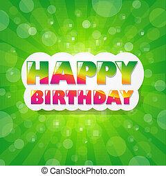 cumpleaños, verde, sunburst, plano de fondo