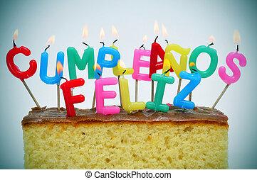 cumpleanos, feliz, feliz cumpleaños, escrito, en, español