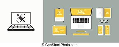 Cumputer repair assistance service - Vector web icon