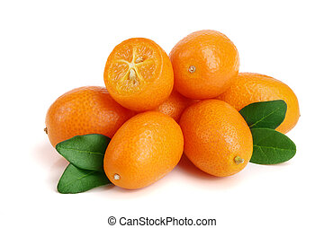 Cumquat or kumquat with leaf isolated on white background close up