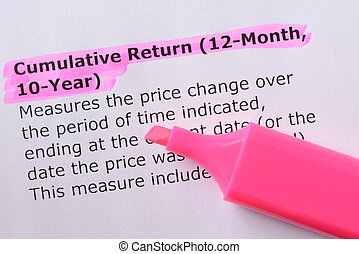 Cumulative Return (12-Month, 10-Year) words highlighted on the white background