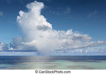 cumulonimbus, exotique, sur, océan, grand