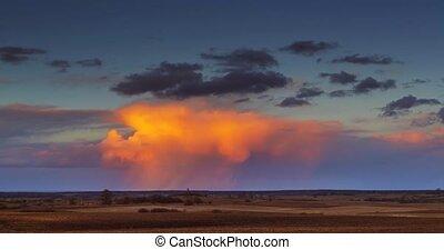 Cumulonimbus storm clouds at red sunset light 4K UHD Timelapse, Lithuania