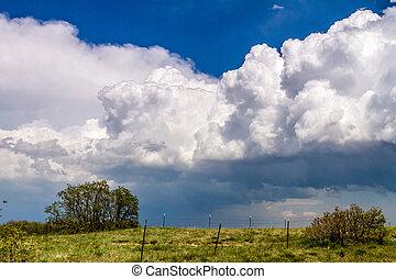 cumulonimbus, wolkenhimmel, sturm, fruehjahr, front