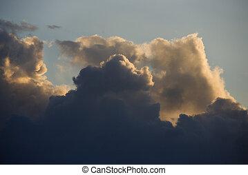 Cumulus clouds in sky.