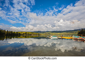 Cumulus clouds over the Pyramid Lake