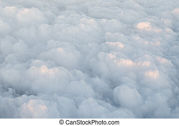 Cumulus clouds, view from the airplane