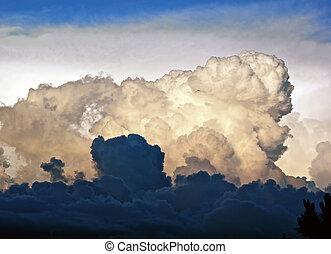 cumulus, ombre, nuages, lumière soleil