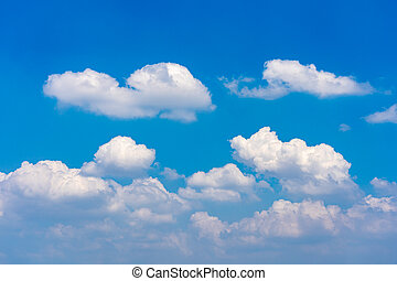 Cumulus white clouds floating on blue sky in beautiful morning