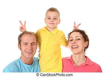 cunning boy with parents